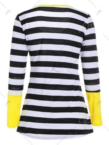 Latest Long Sleeves Buttons Panel Asymmetric Top - L YELLOW Mobile