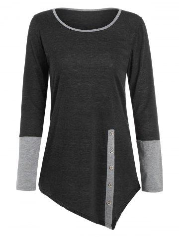 Buy Long Sleeves Buttons Panel Asymmetric Top - M GRAY Mobile