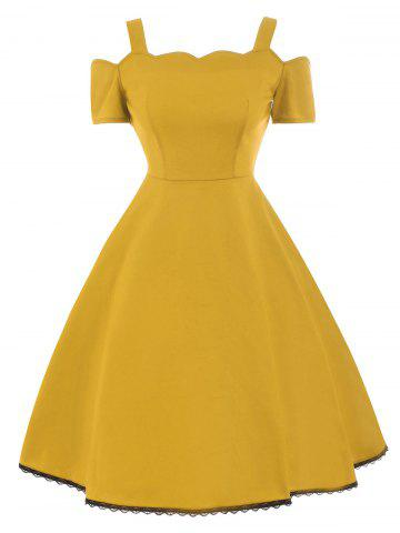 Best High Waist Lace Trim Vintage Dress YELLOW 2XL