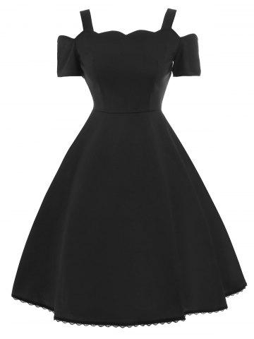 A Line Lace Trim Vintage Skater Dress