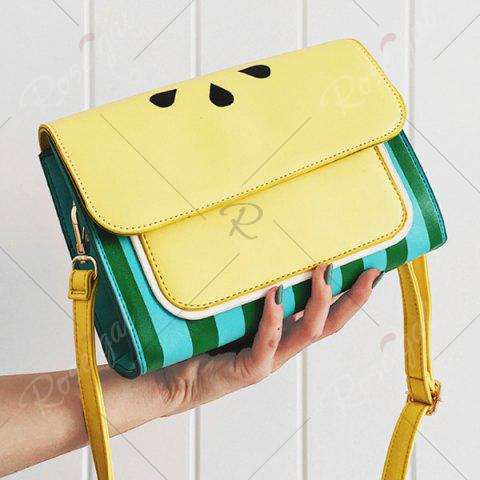 Cheap Watermelon Print Flap Crossbody Bag - YELLOW  Mobile