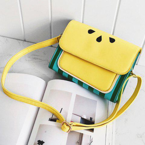 Best Watermelon Print Flap Crossbody Bag - YELLOW  Mobile