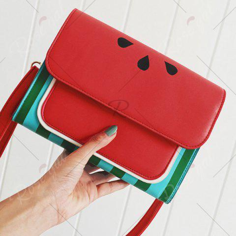 Outfit Watermelon Print Flap Crossbody Bag - RED  Mobile