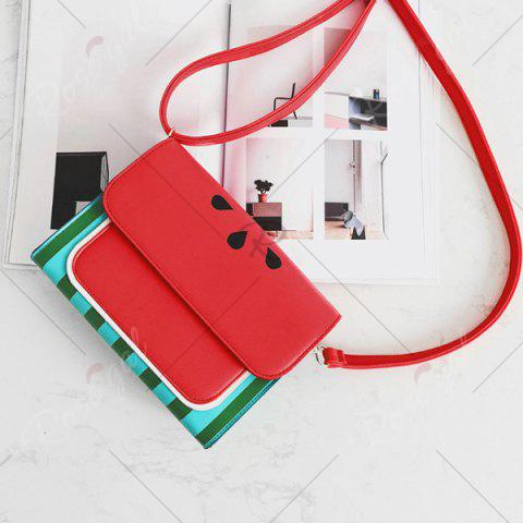 Online Watermelon Print Flap Crossbody Bag - RED  Mobile