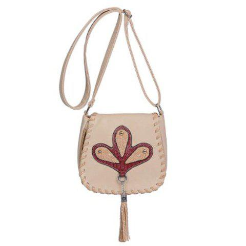 Fashion Tassel Whipstitch Crossbody Bag - BEIGE  Mobile