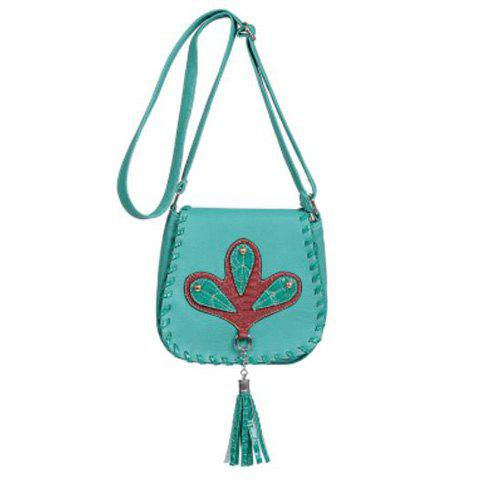 Online Tassel Whipstitch Crossbody Bag - LAKE BLUE  Mobile