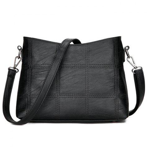 Latest Stitching Faux Leather Crossbody Bag - BLACK  Mobile