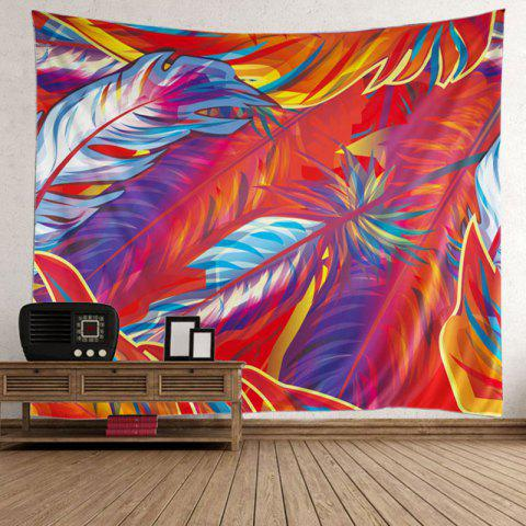 Affordable Wall Hanging Decoration Feather Print Fabric Tapestry - W59 INCH * L79 INCH RED Mobile
