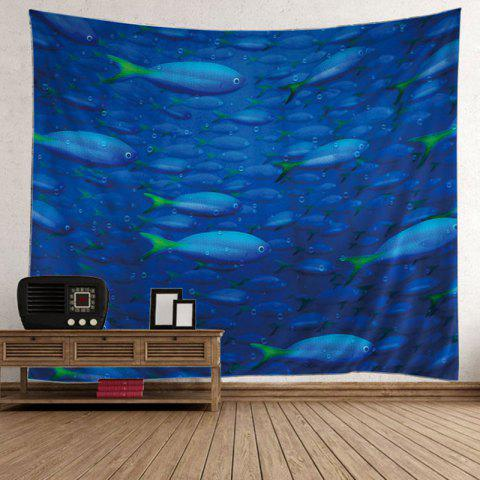 Trendy Ocean Fish Printed Decorative Wall Hanging Tapestry - W59 INCH * L79 INCH BLUE Mobile