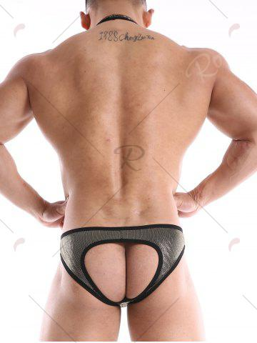 Unique Bodysuit Back Hole Jockstrap One-Piece Jumpsuit Mesh Wrestling Singlet - BLACK S Mobile