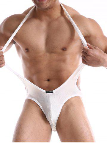 Unique Bodysuit Back Hole Jockstrap One-Piece Jumpsuit Mesh Wrestling Singlet - WHITE M Mobile