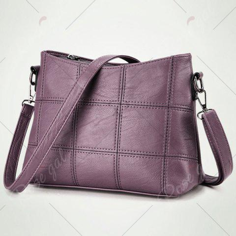 Outfits Stitching Faux Leather Crossbody Bag - PURPLE  Mobile