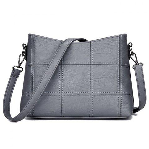 Outfits Stitching Faux Leather Crossbody Bag - GRAY  Mobile