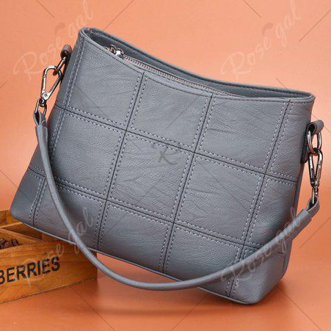 Unique Stitching Faux Leather Crossbody Bag - GRAY  Mobile