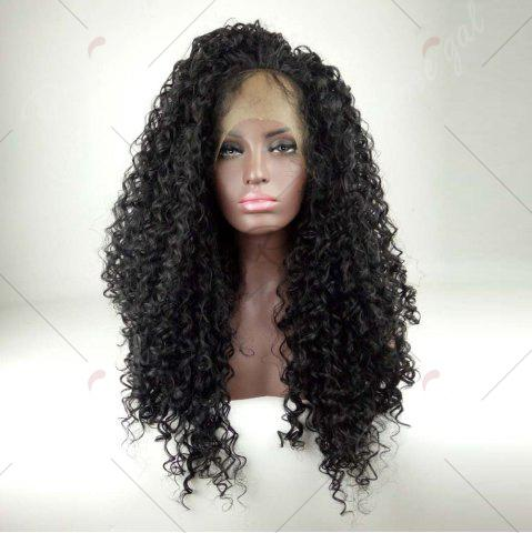 Cheap Deep Side Part Shaggy Long Curly Lace Front Human Hair Wig - BLACK  Mobile
