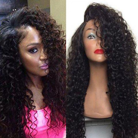 Deep Side Part Shaggy Long Curly Lace Front Hair Hair Wig Noir