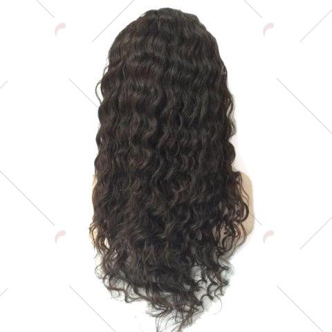 Online Free Part Long Shaggy Deep Wave Lace Front Human Hair Wig - BLACK  Mobile