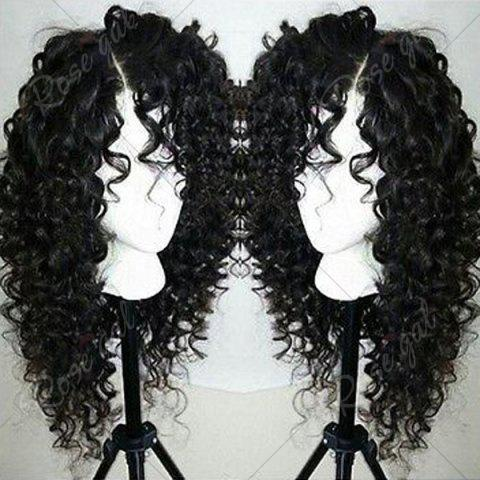 Online Side Part Shaggy Long Jerry Curly Lace Front Human Hair Wig - 16INCH BLACK Mobile
