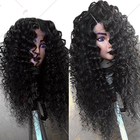 Sale Side Part Shaggy Long Jerry Curly Lace Front Human Hair Wig - 16INCH BLACK Mobile