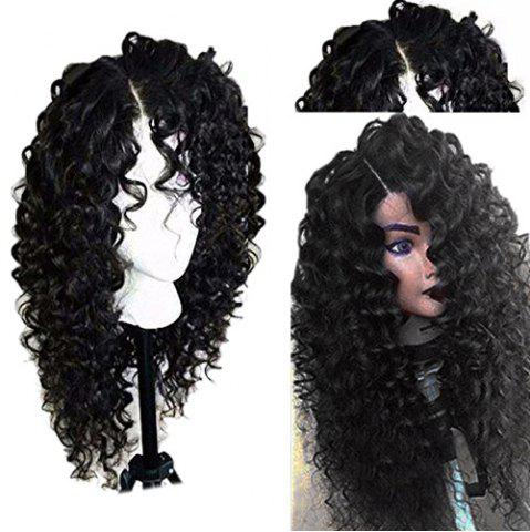 Cheap Side Part Shaggy Long Jerry Curly Lace Front Human Hair Wig - 16INCH BLACK Mobile