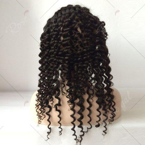 Buy Long Free Part Deep Wave Lace Front Human Hair Wig - 16INCH BLACK Mobile