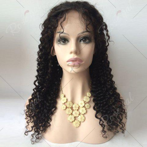 Discount Long Free Part Deep Wave Lace Front Human Hair Wig - 16INCH BLACK Mobile