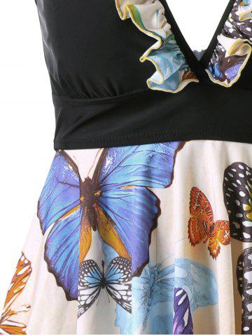 Outfits Plus Size Butterfly Print Halter Handkerchief Tankini - 3XL APRICOT Mobile