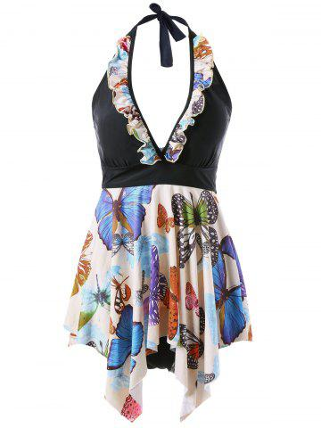 Latest Plus Size Butterfly Print Halter Handkerchief Tankini - 4XL APRICOT Mobile