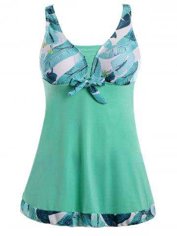 Trendy Plus Size Palm Leaf Print Padded Bathing Suit - 3XL GREEN Mobile