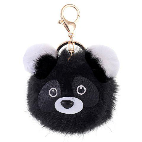 Trendy Cartoon Bear Fuzzy Puff Ball Keychain BLACK