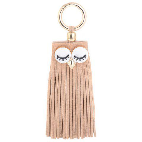Faux Suede Owl Fringed Keyring Café Clair