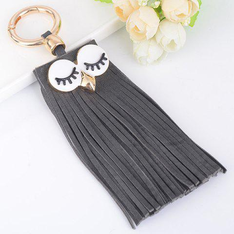 Hot Faux Suede Owl Fringed Keyring GRAY