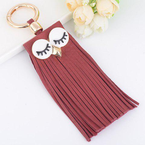 Faux Suede Owl Fringed Keyring Rouge