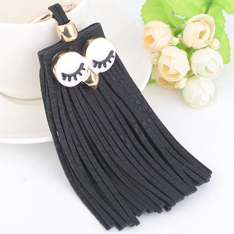 Affordable Faux Suede Owl Fringed Keyring FULL BLACK