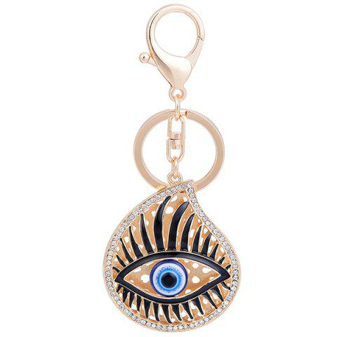 Fancy Rhinestone Embellished Eye Pattern Alloy Keyring - GOLDEN  Mobile