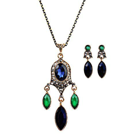 Faux Gemstone Chandelier Necklace and Earrings - Blue