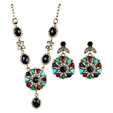Rhinestone Flower Necklace with Earring Set - Black