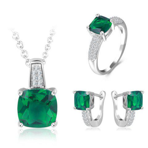 Faux Emerald Horseshoe Earrings Ring and Necklace - Green