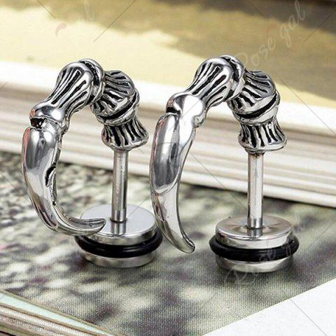 Latest Devil Horn Alloy Stud Earrings - SILVER  Mobile