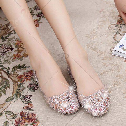 Affordable Flat Heel Hollow Out Sandals - 39 SILVER Mobile
