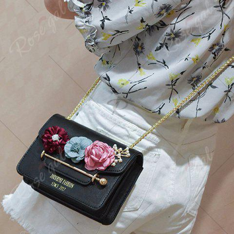 Discount Flowers Cross Body Chain Bag - BLACK  Mobile