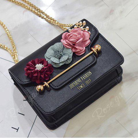 Fancy Flowers Cross Body Chain Bag - BLACK  Mobile