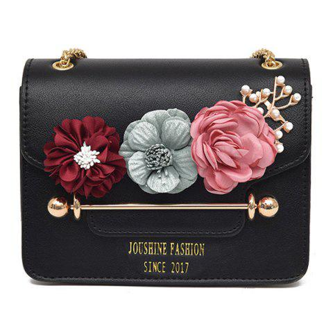 Best Flowers Cross Body Chain Bag - BLACK  Mobile