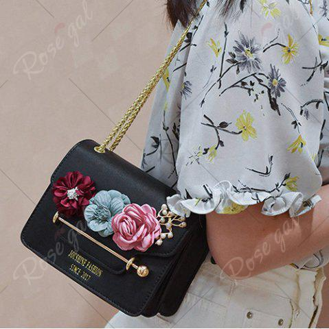 Outfits Flowers Cross Body Chain Bag - BLACK  Mobile