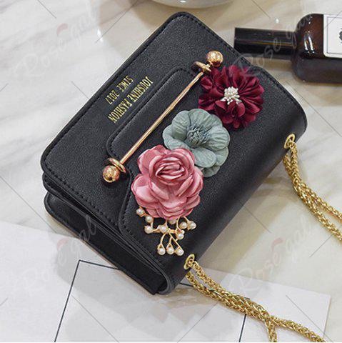 Trendy Flowers Cross Body Chain Bag - BLACK  Mobile