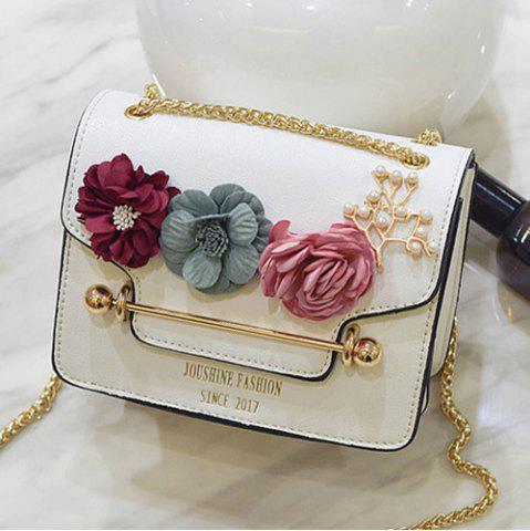Discount Flowers Cross Body Chain Bag - WHITE  Mobile