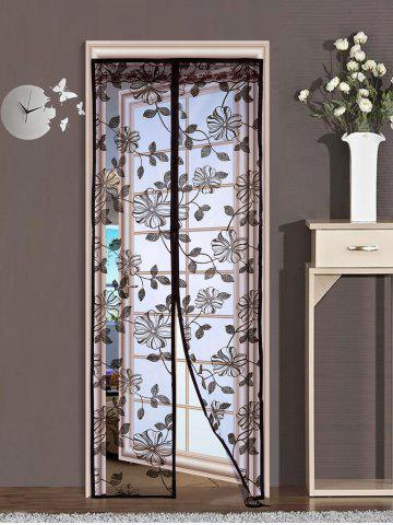 Outfit Floral Sheer Mesh Anti Insect Magnetic Door Curtain - 100*210CM COFFEE Mobile