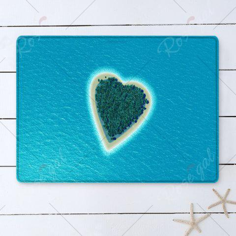 Outfits Heart Island Pattern Water Absorption Flannel Area Rug - W16 INCH * L24 INCH LAKE BLUE Mobile