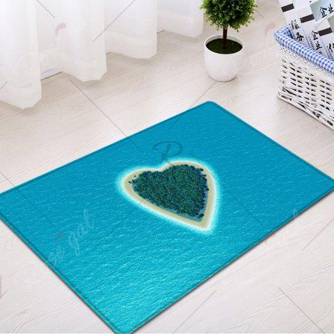 Latest Heart Island Pattern Water Absorption Flannel Area Rug - W16 INCH * L24 INCH LAKE BLUE Mobile