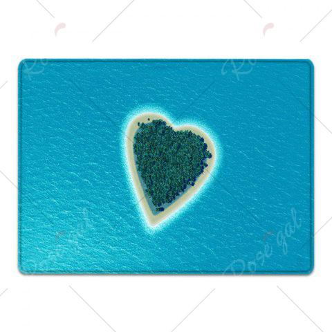 Fancy Heart Island Pattern Water Absorption Flannel Area Rug - W16 INCH * L24 INCH LAKE BLUE Mobile